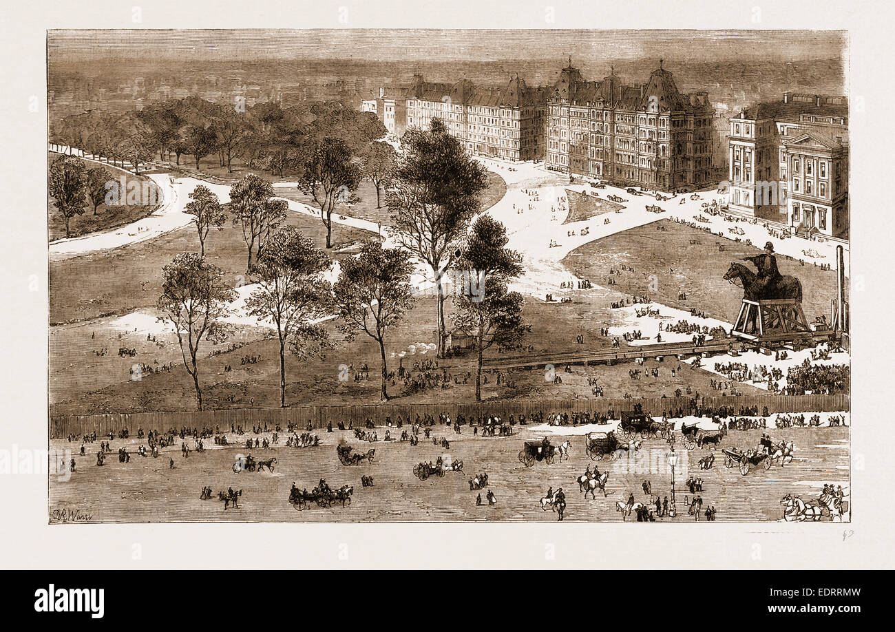 THE IMPROVEMENTS AT HYDE PARK CORNER, AND THE REMOVAL OF THE STATUE OF THE DUKE OF WELLINGTON, LONDON, UK, 1883 - Stock Image