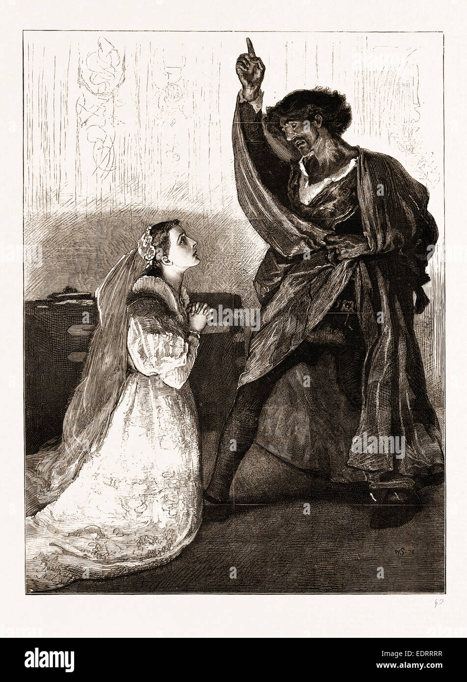 "MR. IRVING AND MISS ISABEL BATEMAN IN ""OTHELLO"" AT THE LYCEUM THEATRE, LONDON, UK, 1876: Desdemona: Upon my kneesStock Photo"