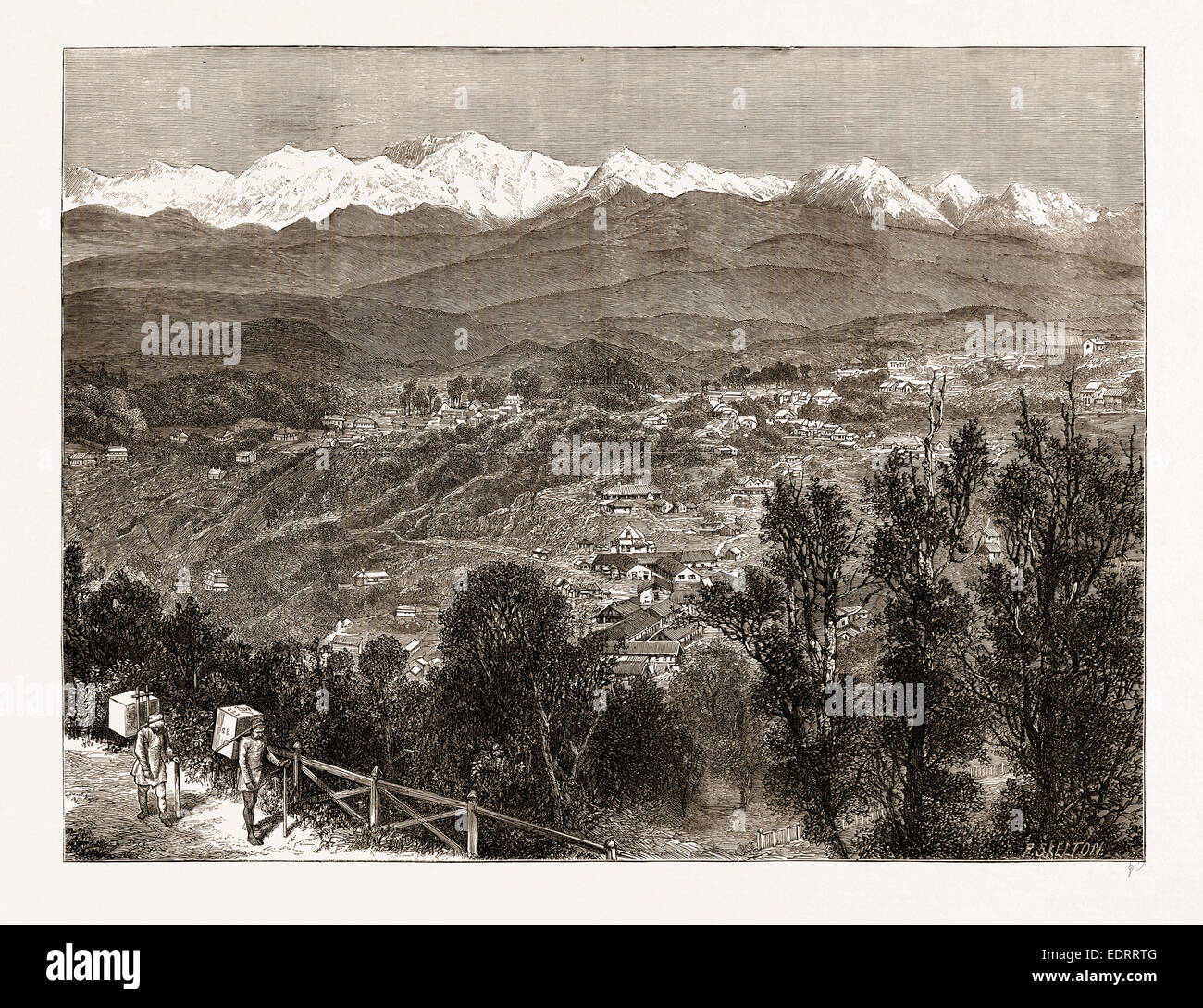 TEA CULTIVATION IN BRITISH INDIA: VIEW OF DARJEELING FROM THE SOUTH, 1876 - Stock Image