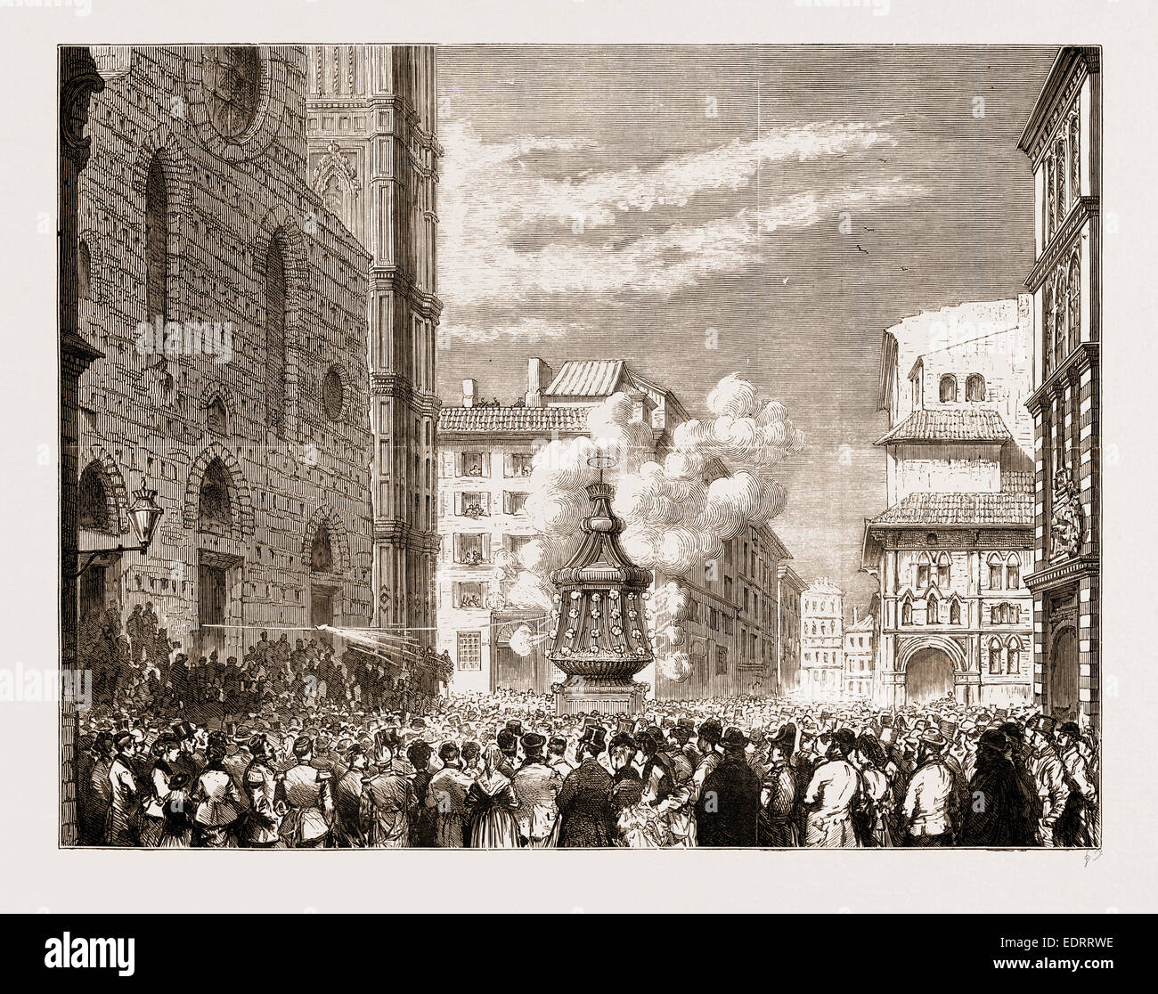 EASTERTIDE CEREMONIES: 'LO SCOPPIO DEL CARRO' AT FLORENCE, ITALY, 1876 - Stock Image