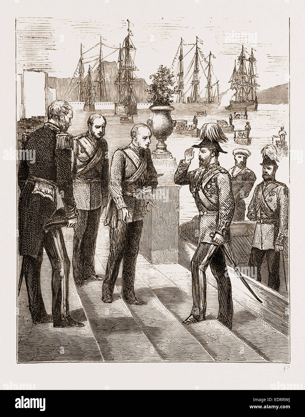 THE PRINCE OF WALES AT MALTA, 1876: RECEPTION OF THE PRINCE BY GENERAL SIR C.T. VAN STRAUBENZEE, GOVERNOR OF THE - Stock Image