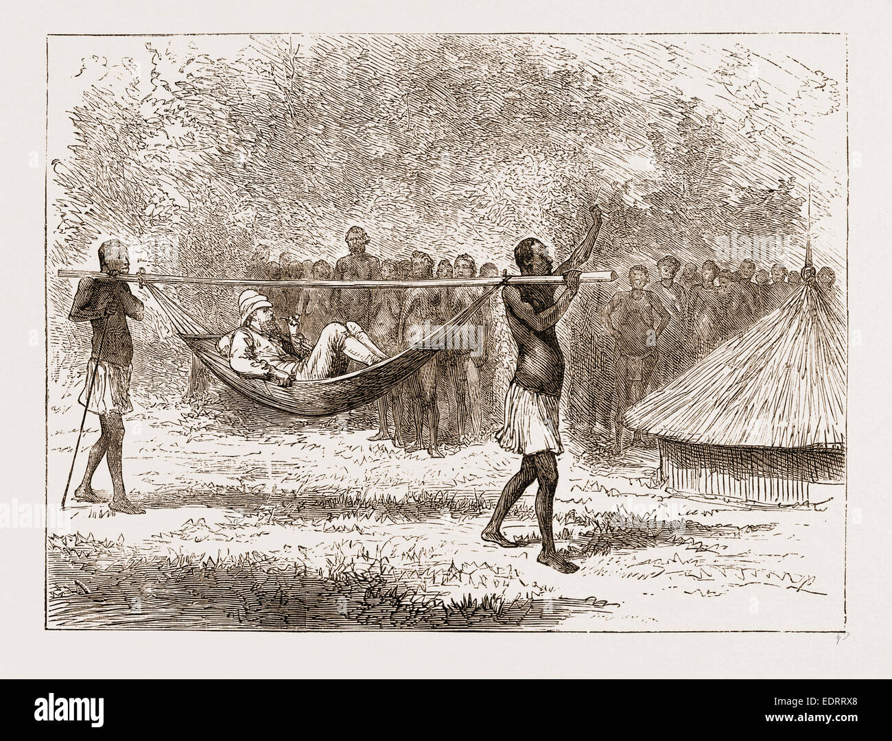 A LAME DAY, AFRICA, 1876 - Stock Image