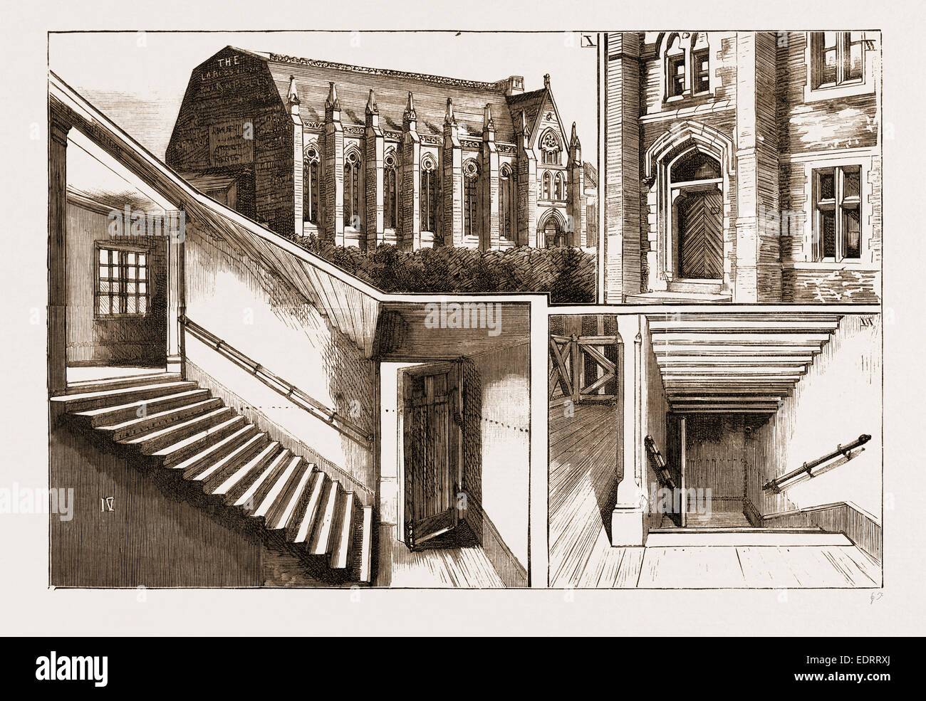 THE TERRIBLE DISASTER AT SUNDERLAND, UK, 1883: 1. Exterior View of the Victoria Hall. 2. External Door of the Hall - Stock Image