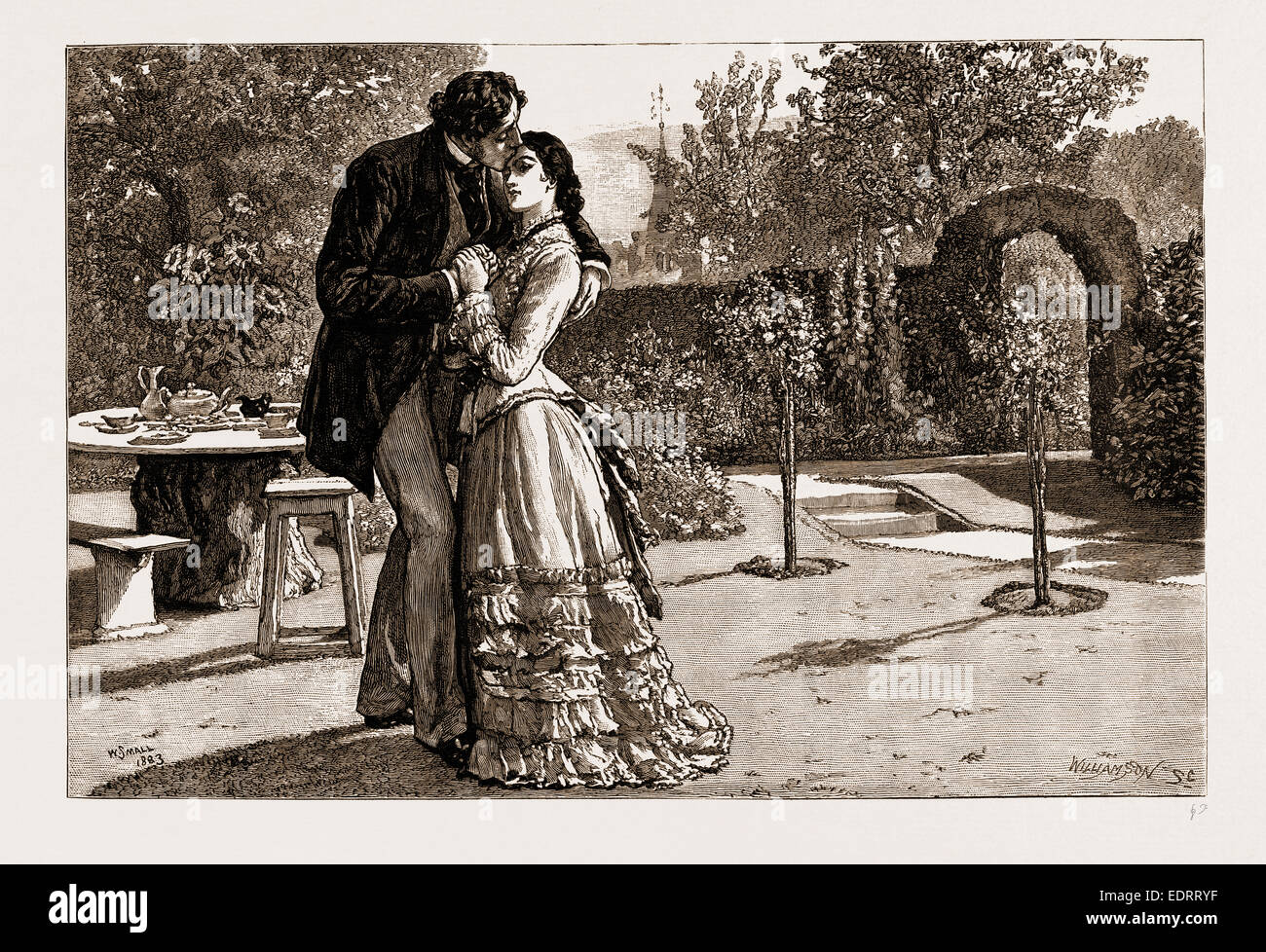 THIRLBY HALL, DRAWN BY WILLIAM SMALL, 1883; Yielding to an uncontrollable impulse, I caught her suddenly in my arms - Stock Image