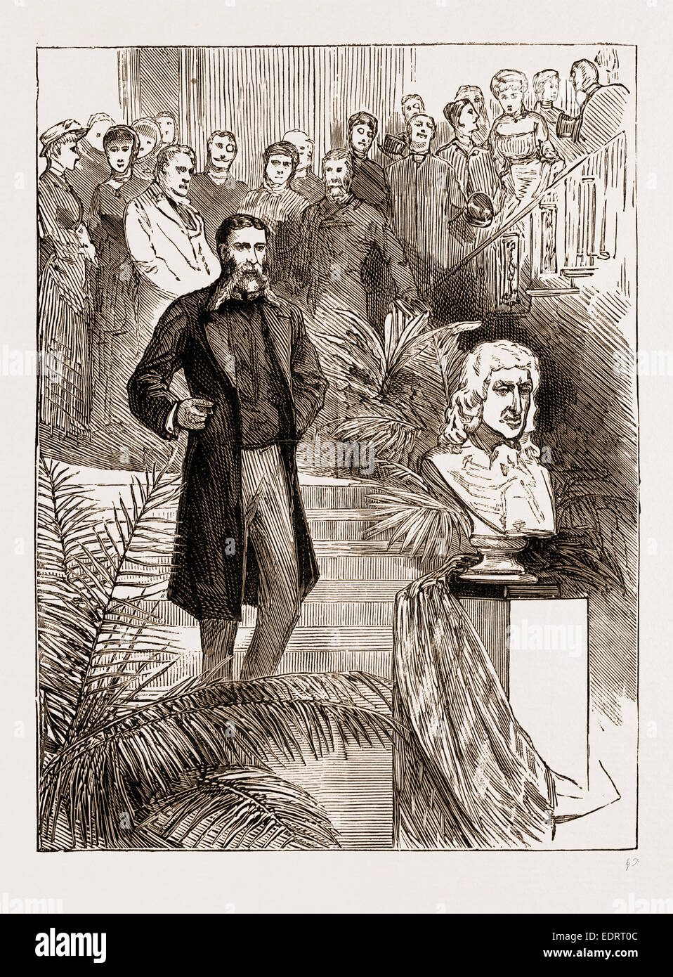 UNVEILING THE BUST OF FIELDING AT THE SHIRE HALL, TAUNTON, UK, 1883: 1. The Ceremony: Mr. Lowell's Address - Stock Image