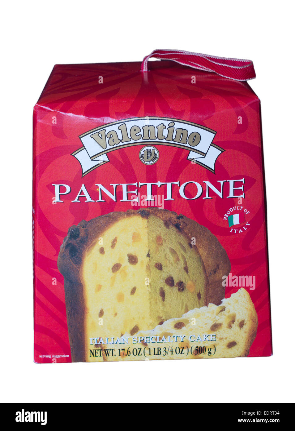 a8e76a2516 Presentation box of Italian Panettone by Valentino isolated on a white  background. - Stock Image