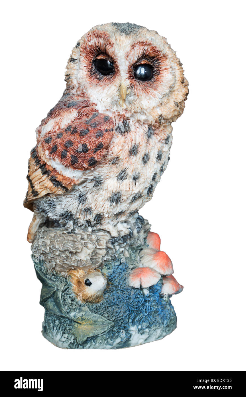 Tawny Owl figurine 015 by Arden Sculptures isolated on a white background - Stock Image