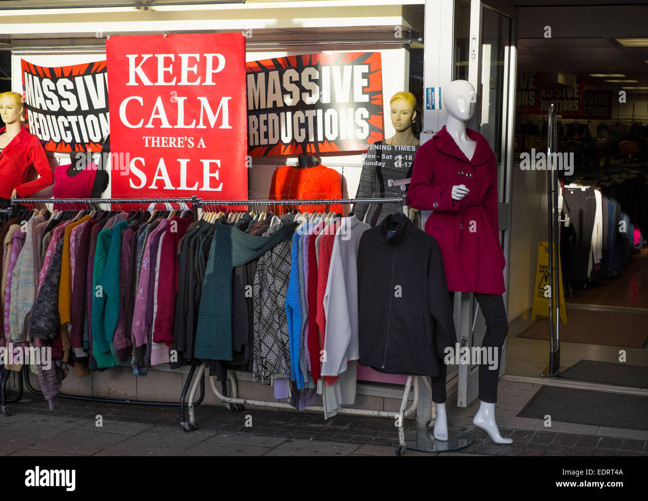 Sale signs outside a clothing shop in Walsall, West Midlands, England, UK - Stock Image