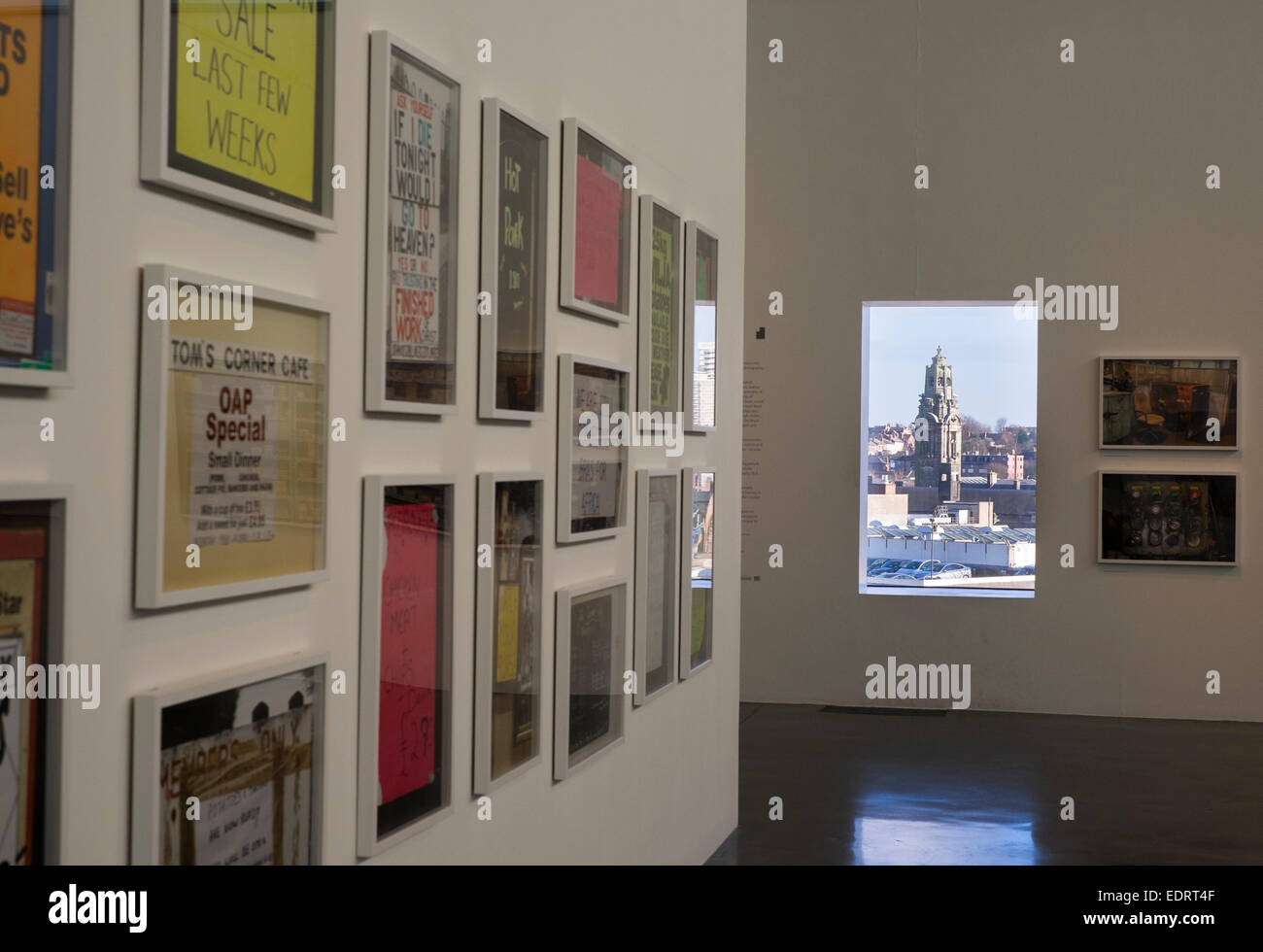Walsall town hall seen through a window in Walsall art gallery during an exhibition by photographer Martin Parr - Stock Image