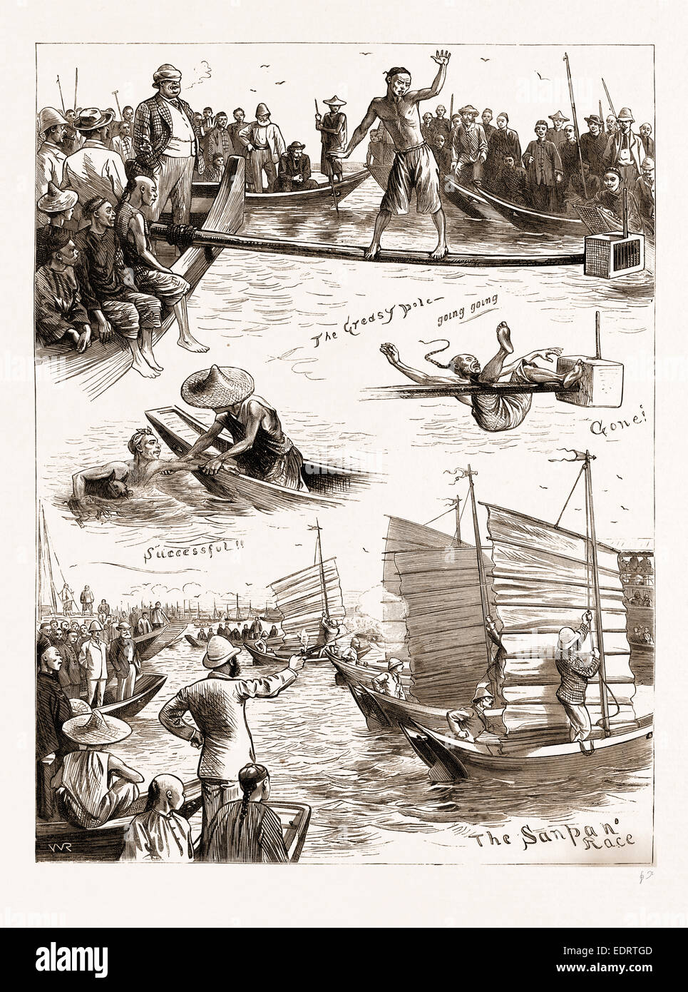 AQUATIC SPORTS AT AMOY, 1883; THE GREASY POLE, THE SANPAN RACE - Stock Image