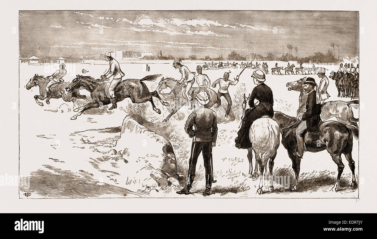 THE NEW EGYPTIAN ARMY, 1883: PUTTING THE CAVALRY OVER THE JUMPS AFTER MORNING RIDING SCHOOL - Stock Image