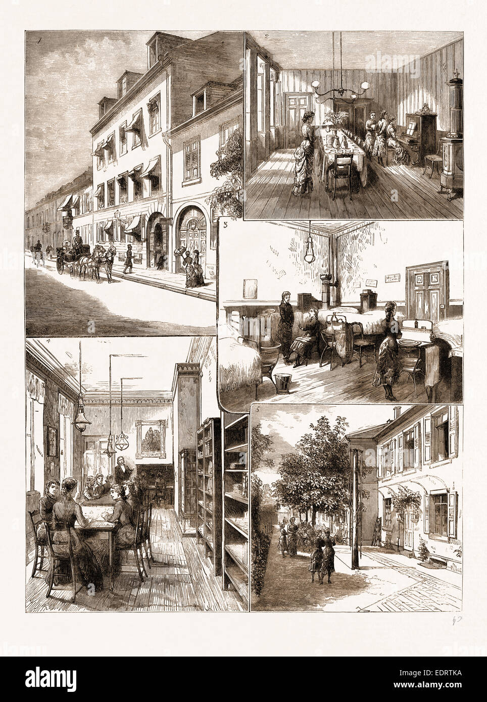 THE VICTORIA SCHOOL FOR GIRLS, CARLSRUHE, UNDER THE DIRECTION OF H.R.H. THE GRAND DUCHESS OF BADEN, GERMANY, 1883 - Stock Image