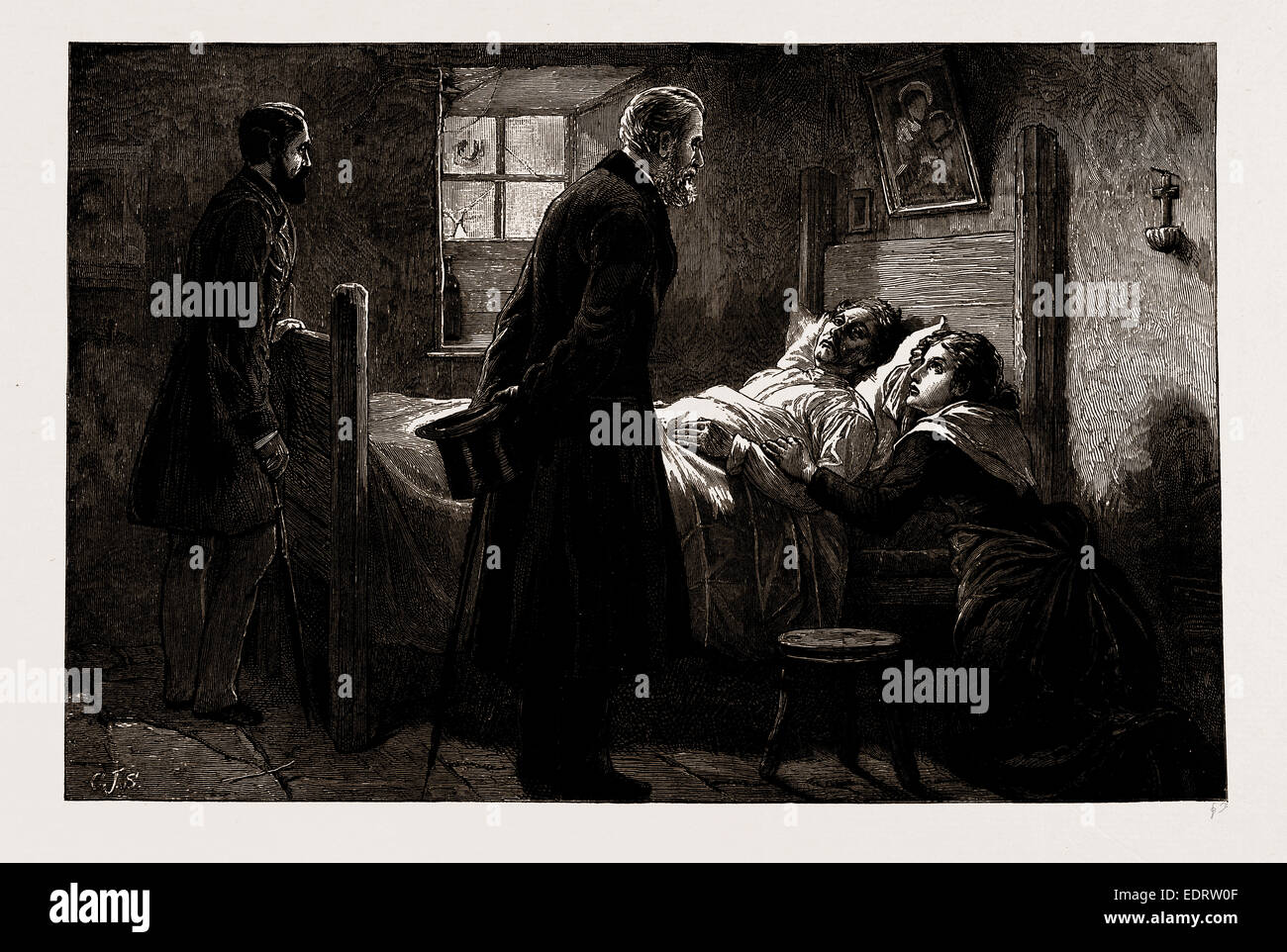 A REMINISCENCE OF THE LATE MR. FORSTER'S IRISH CHIEF SECRETARYSHIP: VISITING A VICTIM OF 'CAPTAIN MOONLIGHT' - Stock Image