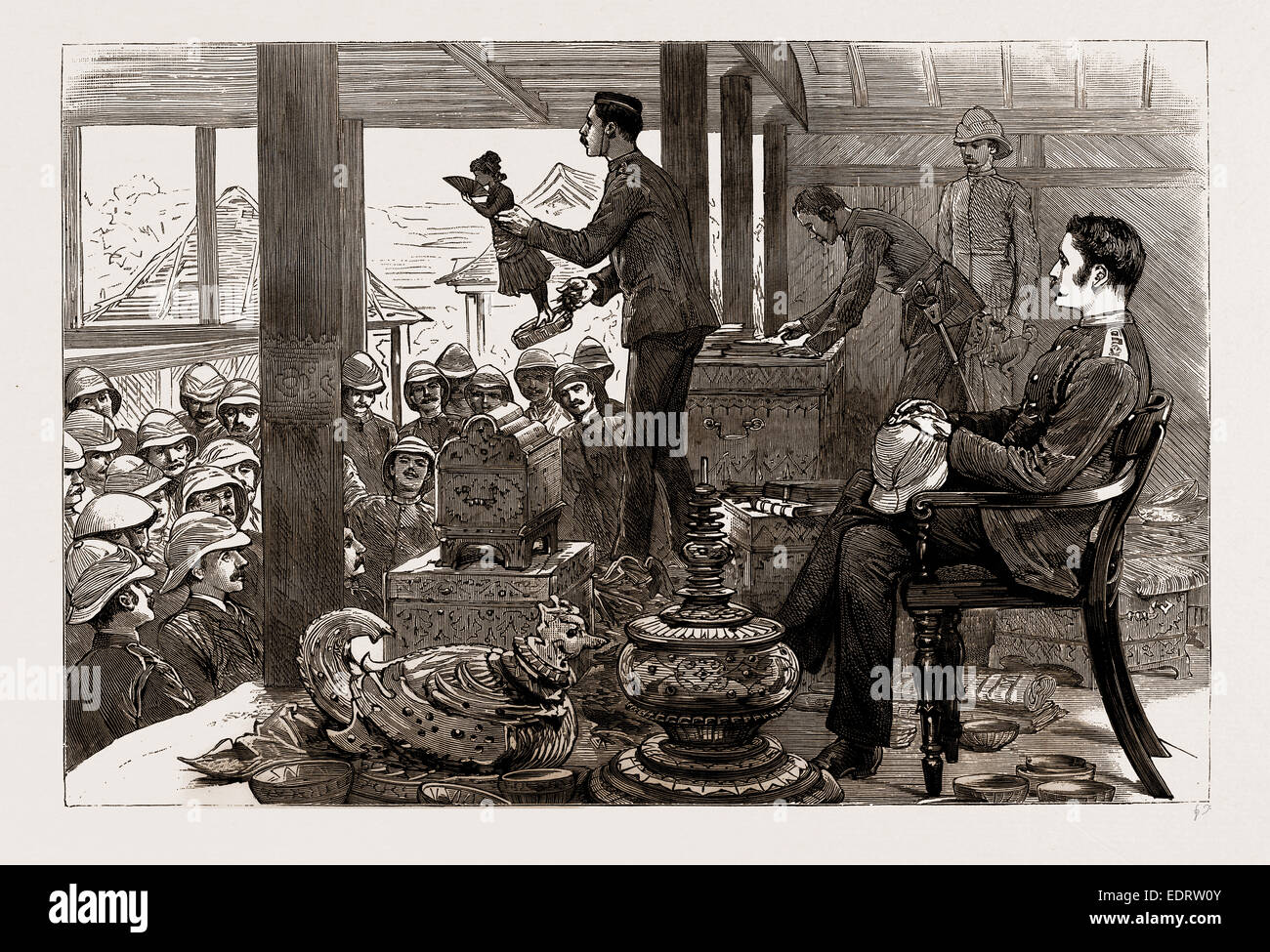WITH LORD DUFFERIN IN BURMA: A LOOT AUCTION IN THE PALACE, MANDALAY, 1886 - Stock Image