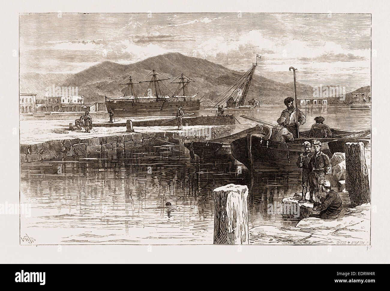 SPAIN 1873, THE HARBOUR OF CARTHAGENA, NOW IN THE POSSESSION OF THE INSURGENTS - Stock Image
