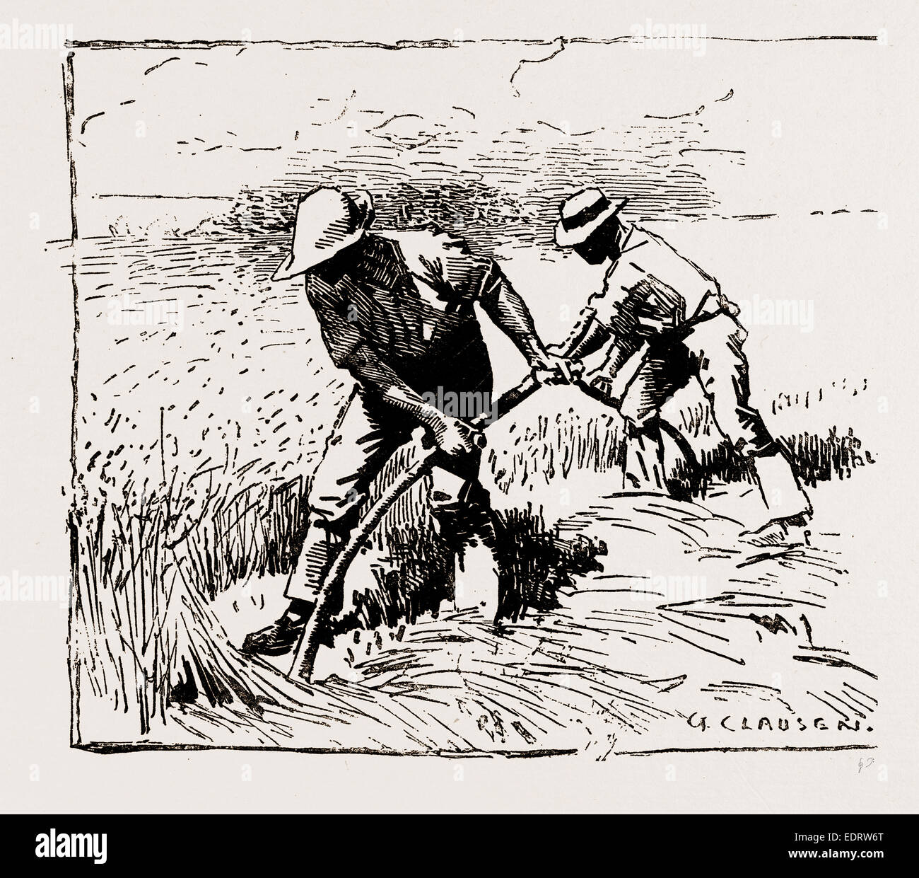 ILLUSTRATIONS FROM THE CATALOGUE OF THE ROYAL INSTITUTE OF PAINTERS IN WATER COLOURS, 1886: MOWERS, By George Clausen, - Stock Image