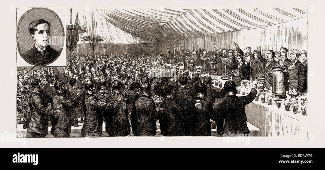 THE COMING OF AGE OF THE DUKE OF NEWCASTLE: FESTIVITIES AT CLUMBER, NEAR WORKSOP, NOTTINGHAM, UK, 1886: THE BANQUET - Stock Image