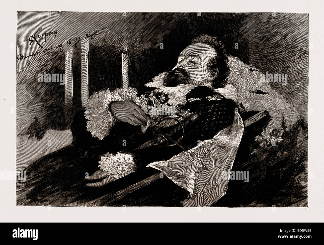 THE DEATH OF KING LUDWIG II. OF BAVARIA: THE KING LYING IN STATE IN THE CHAPEL OF THE OLD PALACE, MUNICH, GERMANY, - Stock Image