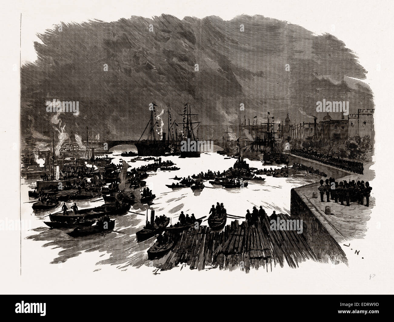THE LAYING OF THE MEMORIAL STONE OF THE NEW TOWER BRIDGE BY THE PRINCE OF WALES: THE SCENE ON THE THAMES, LONDON, - Stock Image