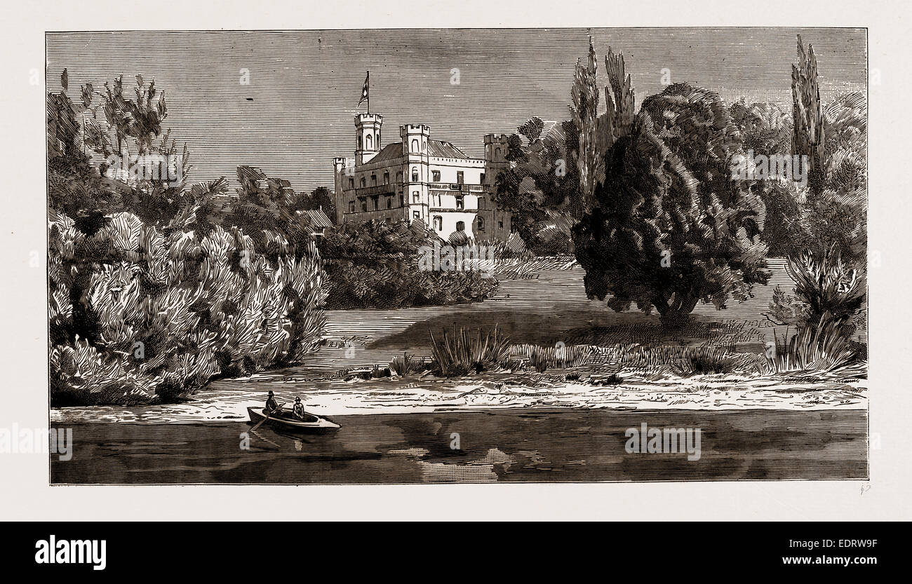 THE DEATH OF KING LUDWIG II. OF BAVARIA: SCHLOSS BERG, AND THE LAKE WHERE THE LATE KING COMMITTED SUICIDE, GERMANY, - Stock Image