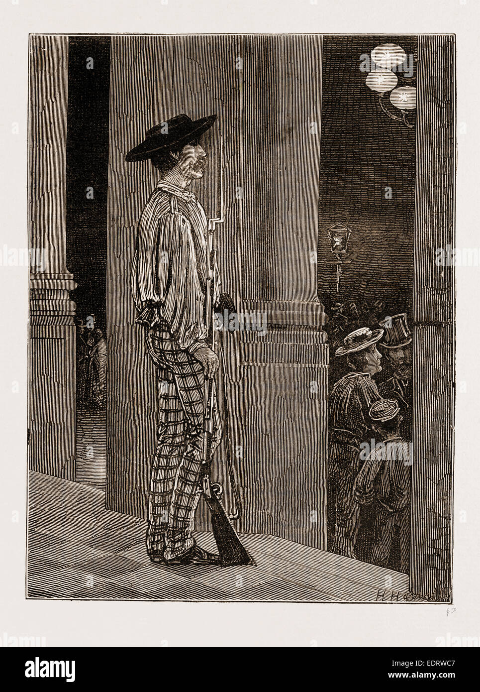 A NATIONAL GUARD SENTRY BEFORE THE HOTEL DE VILLE, SEVILLE, SPAIN 1873 - Stock Image