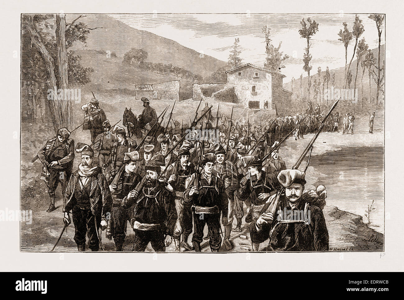 REPUBLICAN VOLUNTEERS IN PURSUIT OF CARLISTS IN THE CATALONIAN MOUNTAIN, SPAIN 1873 - Stock Image