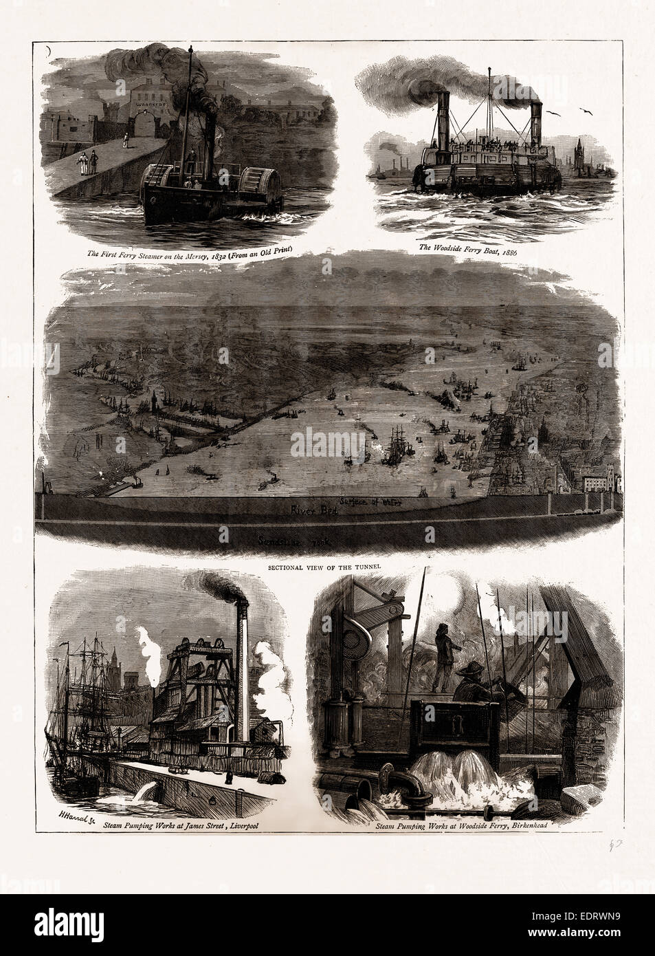 THE MERSEY TUNNEL OPENED BY THE PRINCE OF WALES, JAN. 20, UK, 1886; The First Ferry Steamer on the Mersey, 1832 - Stock Image