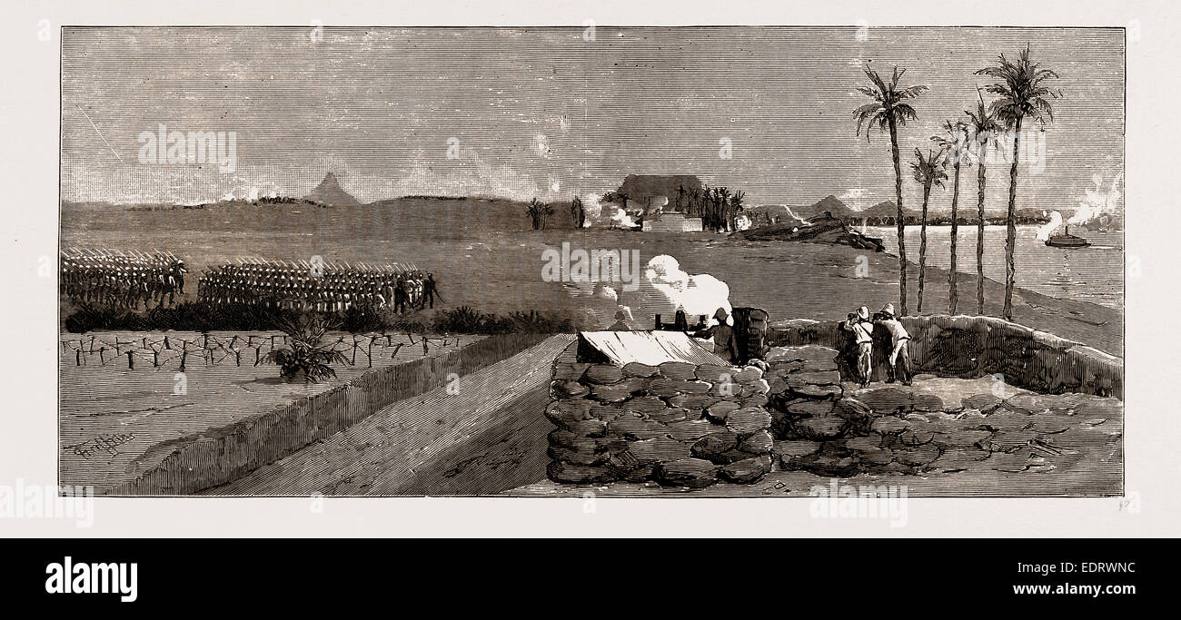 WITH THE NILE FRONTIER FIELD FORCE, ATTACK ON THE REBELS AT KOSHEY AND GINISS, 1886: Wire Entanglement, Sandbag - Stock Image