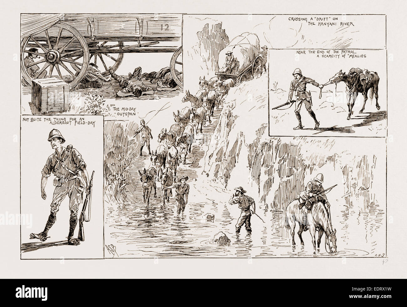 TOMMY ATKINS IN RHODESIA: LEAVES FROM AN OFFICER'S SKETCH BOOK, 1897; THE MID DAY OUTSPAN; CROSSING A 'DRIFT' - Stock Image