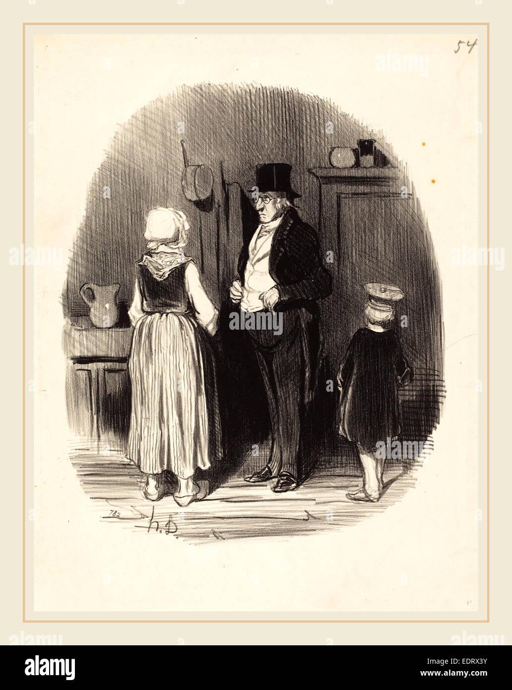 Honoré Daumier (French, 1808-1879), Comment! tous mes moutons sont morts, 1845, lithograph - Stock Image