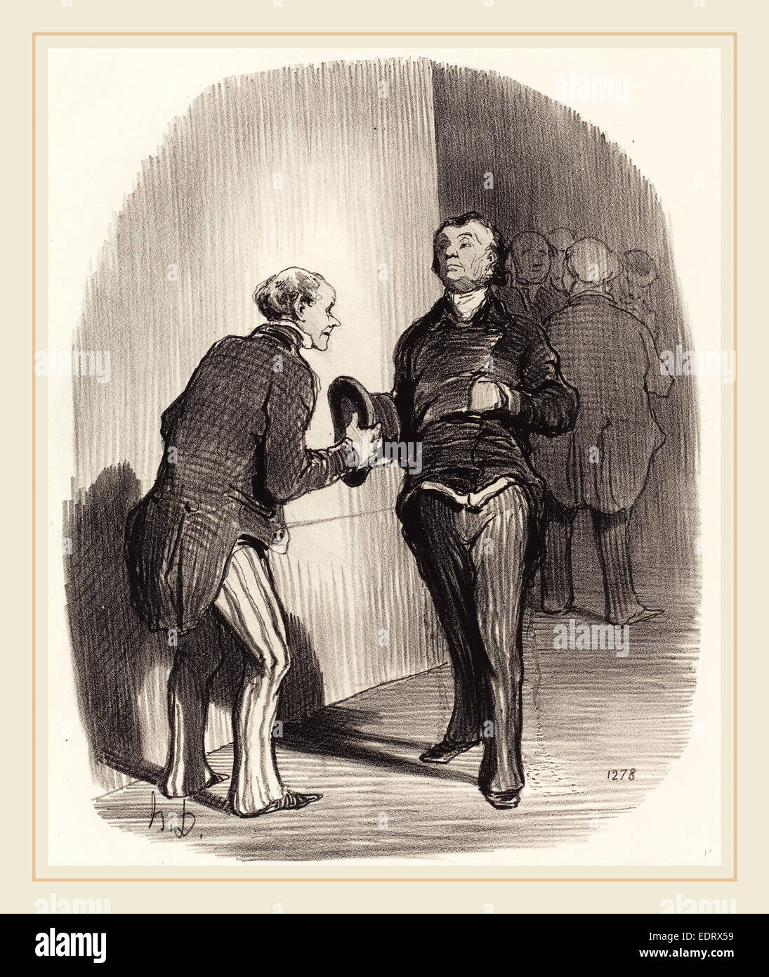 Honoré Daumier (French, 1808-1879), Vue d'une antichambre ministérielle, 1849, lithograph - Stock Image
