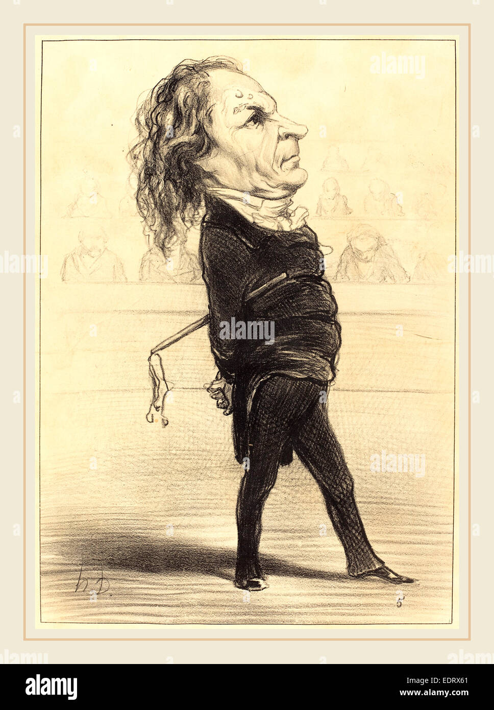 Honoré Daumier (French, 1808-1879), Alex. Thomas Marie, 1849, lithograph - Stock Image