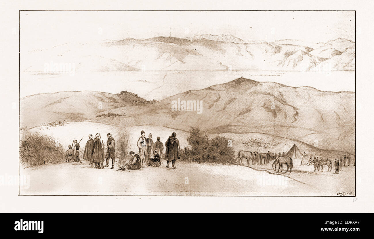 THE ARMISTICE BETWEEN TURKEY AND GREECE: POSITION OF THE ARMIES NEAR LAMIA, 1897: Turkish Camp, Position of the - Stock Image