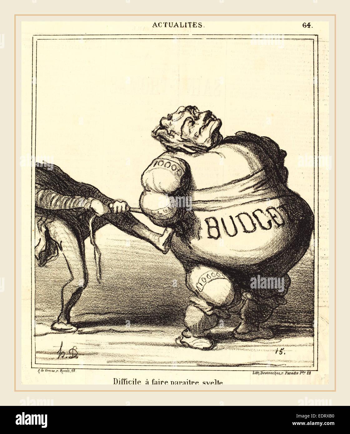 Honoré Daumier (French, 1808-1879), Difficile à faire paraitre svelte, 1869, lithograph on newsprint - Stock Image