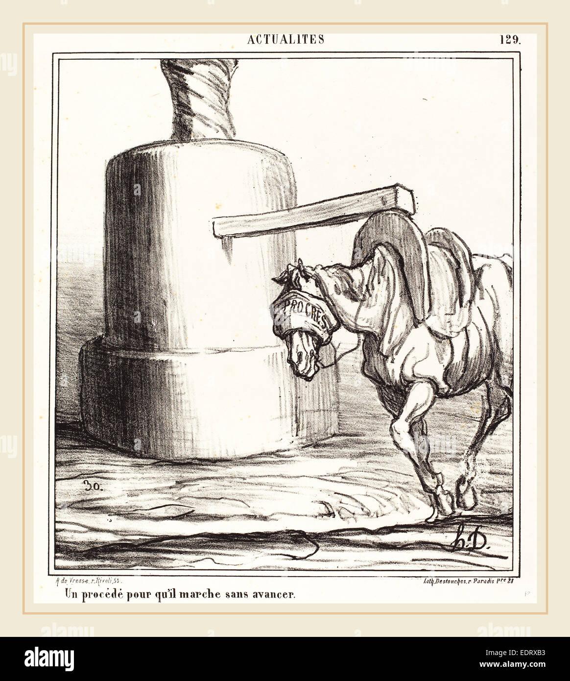 Honoré Daumier (French, 1808-1879), Un procédé pour qu'il marche sans avancer, 1868, lithograph - Stock Image