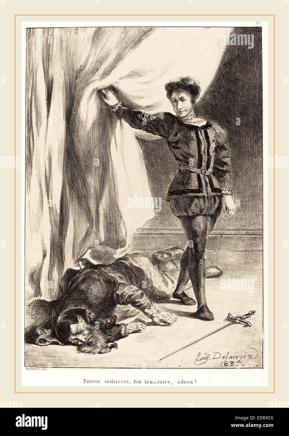 Eugène Delacroix (French, 1798-1863), Hamlet and the Body of Polonius (Act III, Scene IV), 1835, lithograph - Stock Image