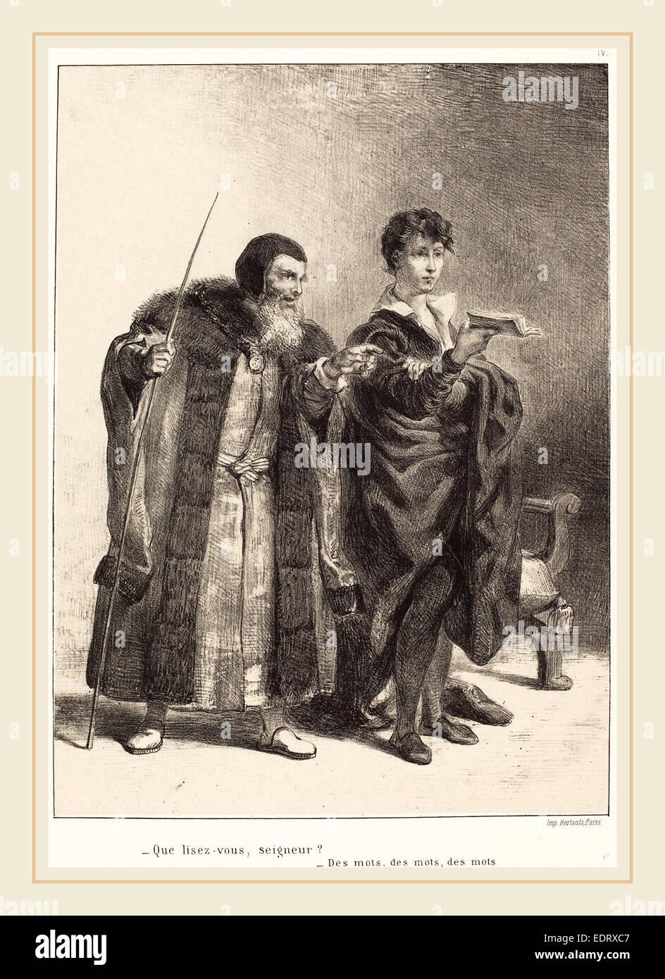 Eugène Delacroix (French, 1798-1863), Polonius and Hamlet (Act II, Scene II), 1834-1843, lithograph - Stock Image