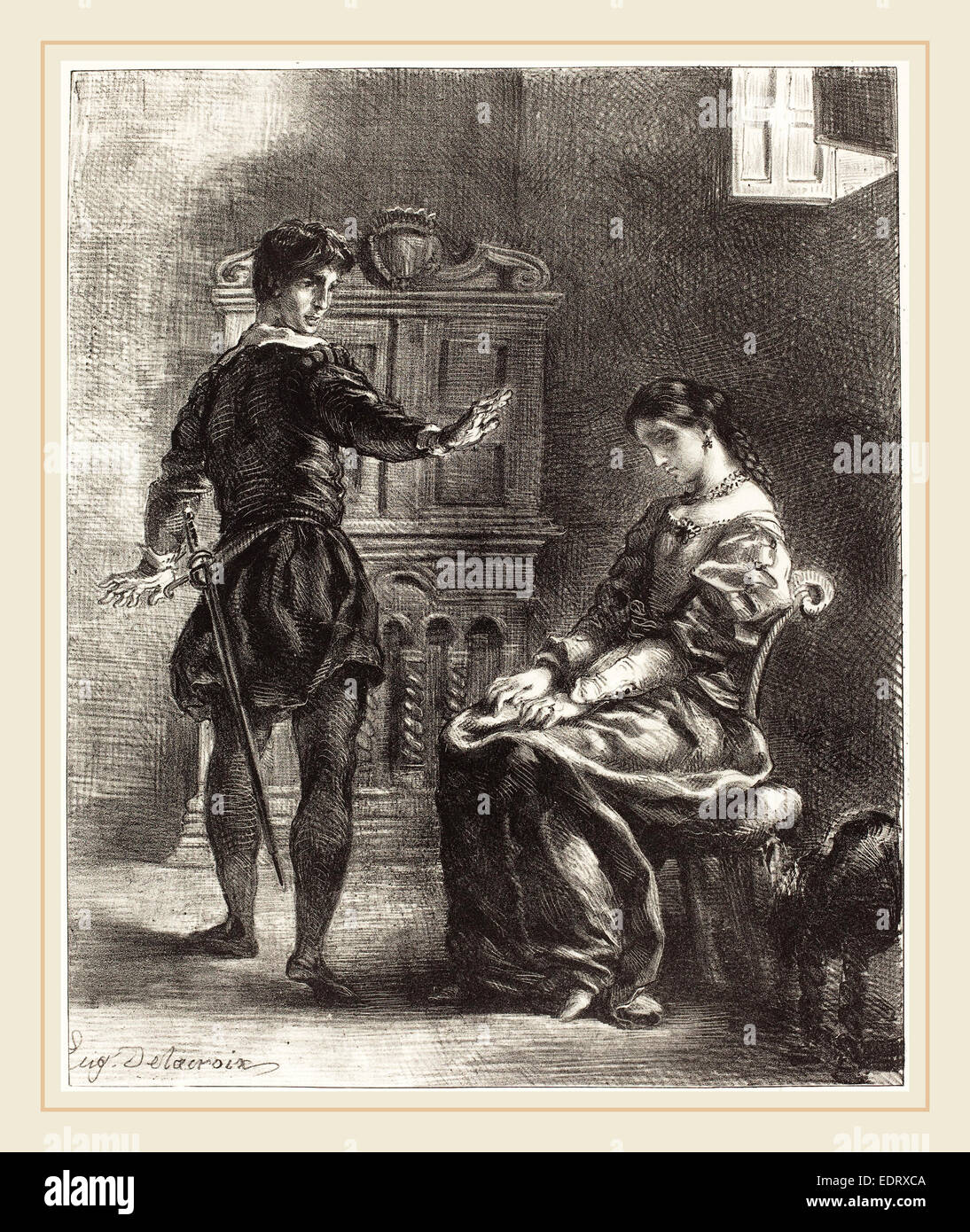 Eugène Delacroix (French, 1798-1863), Hamlet and Ophelia (Act III, Scene I), 1834-1843, lithograph - Stock Image