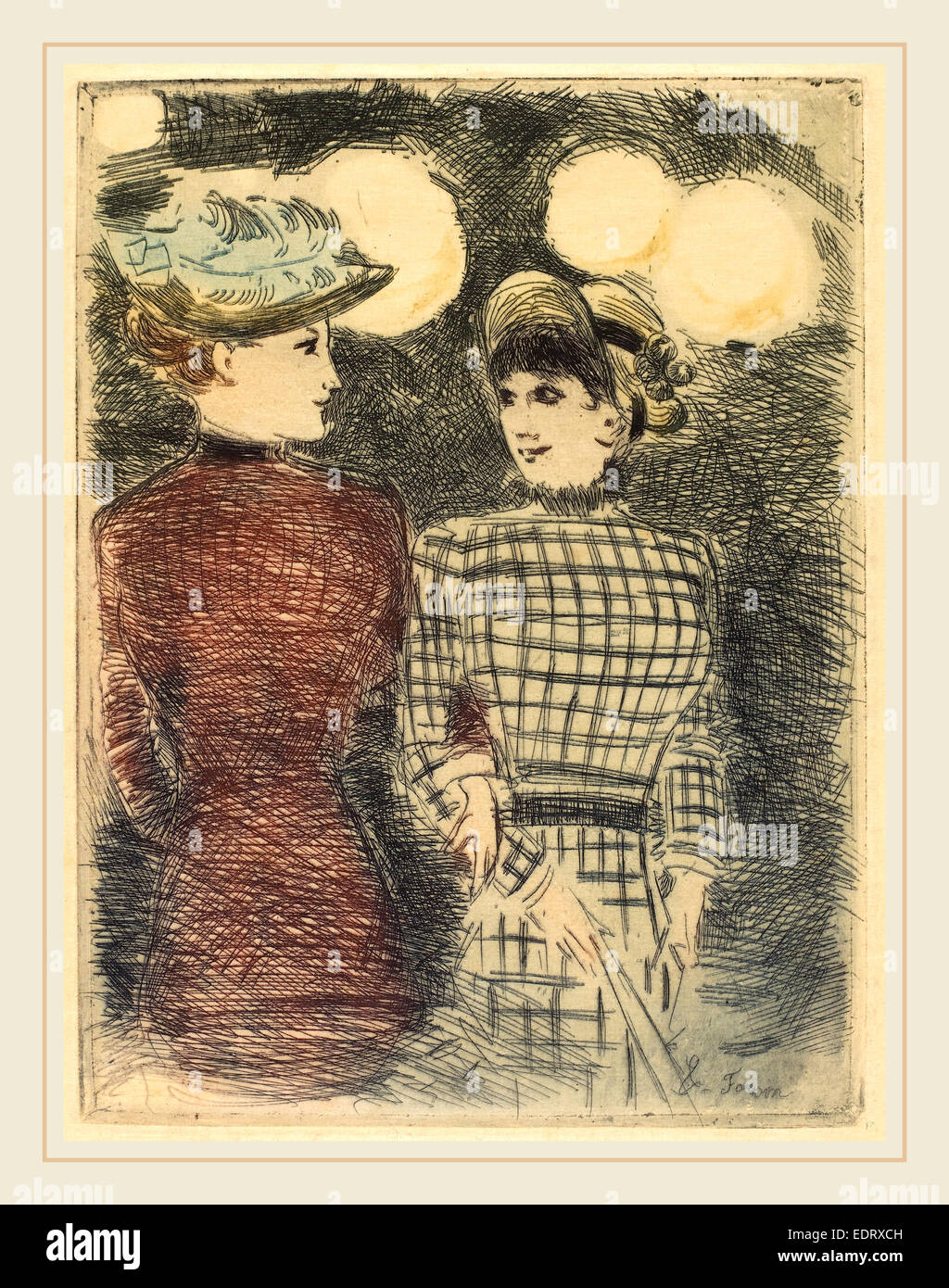 Jean-Louis Forain (French, 1852-1931), To Bullier's, c. 1876, color etching - Stock Image