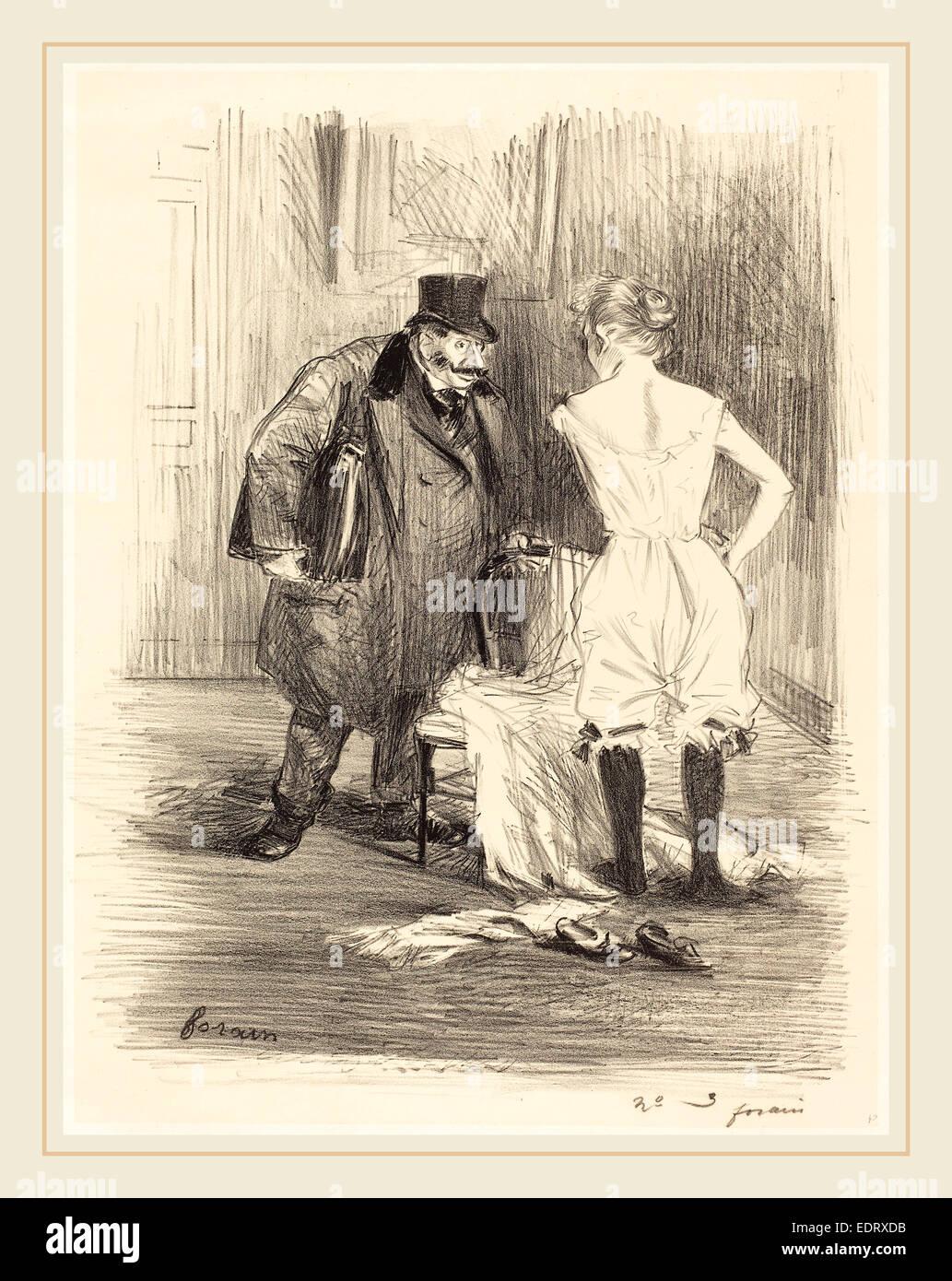 Jean-Louis Forain (French, 1852-1931), A Seizure, c. 1891, lithograph - Stock Image