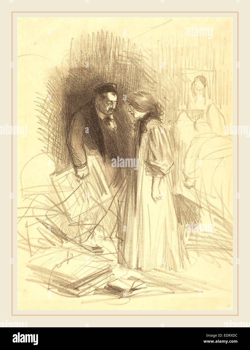 Jean-Louis Forain (French, 1852-1931), 'I don't dare take them down it would hurt him too much.', c. - Stock Image