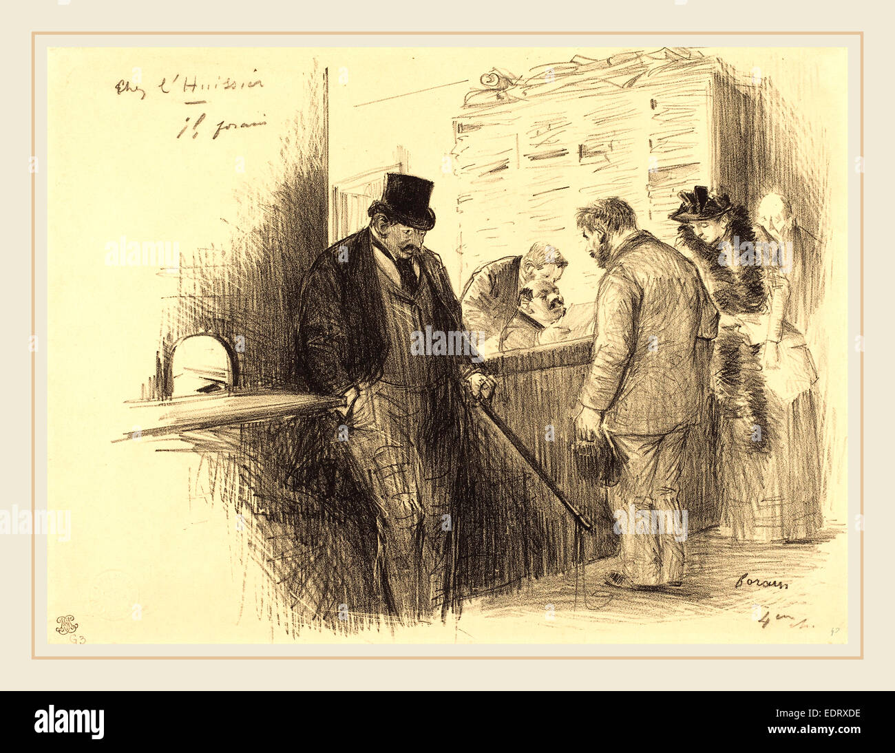 Jean-Louis Forain (French, 1852-1931), At the Bailiff's, c. 1891, lithograph - Stock Image