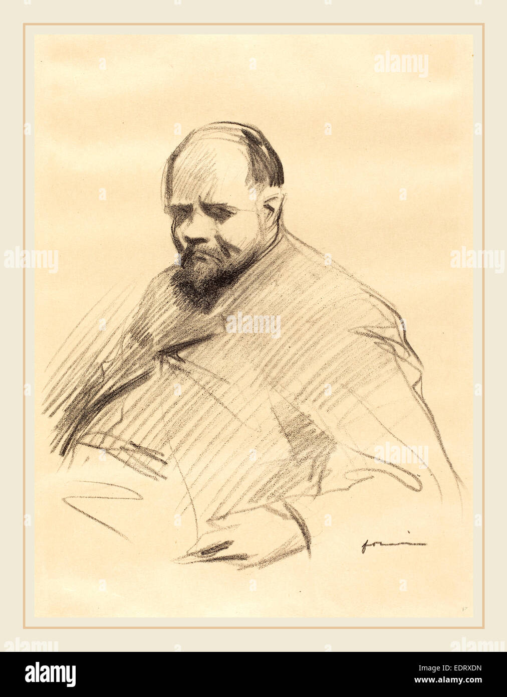 Jean-Louis Forain, Ambroise Vollard, French, 1852-1931, c. 1910, lithograph - Stock Image