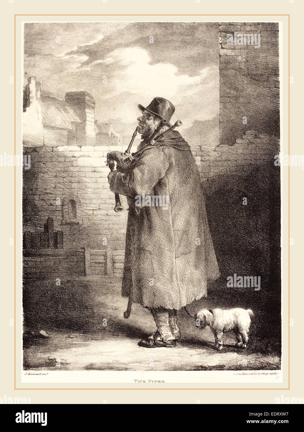 Théodore Gericault (French, 1791-1824), The Piper, 1821, lithograph - Stock Image