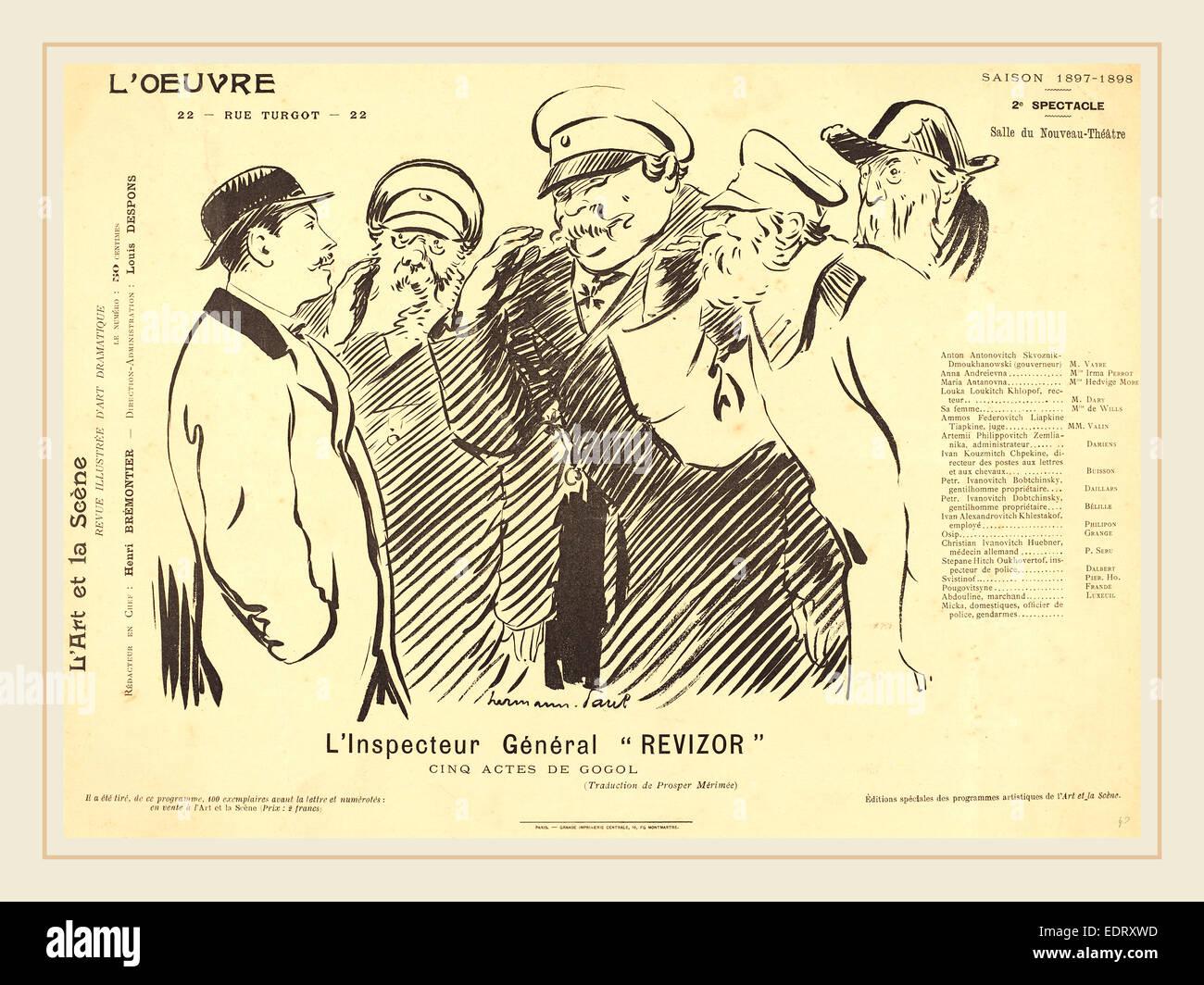 Hermann-Paul (French, 1864-1940), L'Inspecteur Général Revizor, 1898, photorelief on wove paper - Stock Image