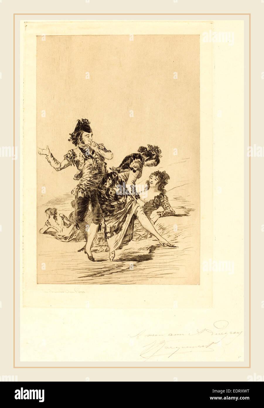 Jules-Ferdinand Jacquemart after Francisco de Goya (French, 1837-1880), Spanish Scene (Scène espagnole), 1863, - Stock Image