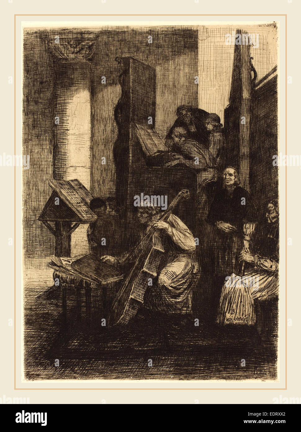 Alphonse Legros (French, 1837-1911), Choir in a Spanish Church (Le choeur d'une eglise espagnole), 1860, etching - Stock Image
