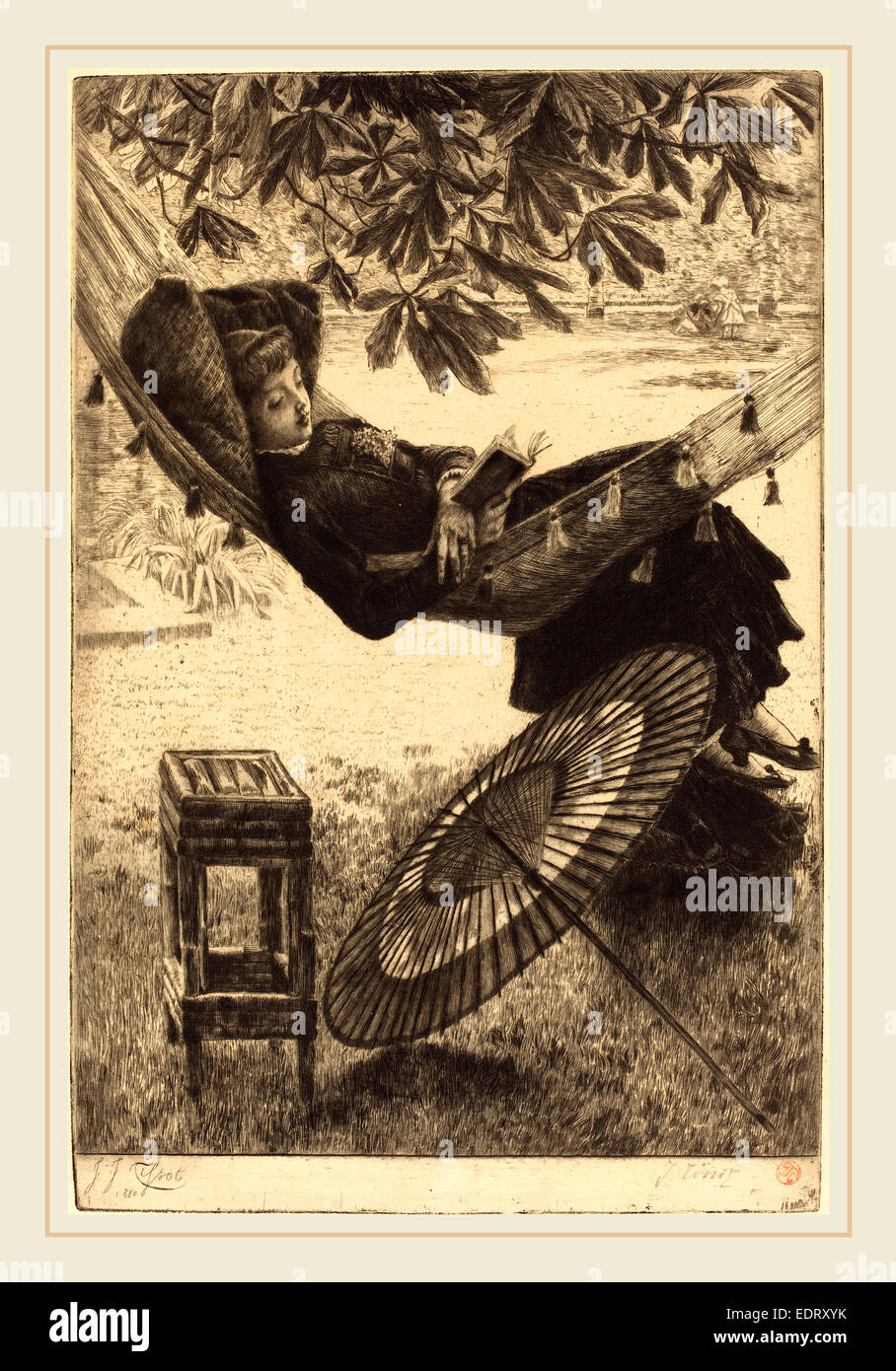 James Jacques Joseph Tissot (French, 1836-1902), The Hammock (Le hamac), 1880, etching and drypoint - Stock Image