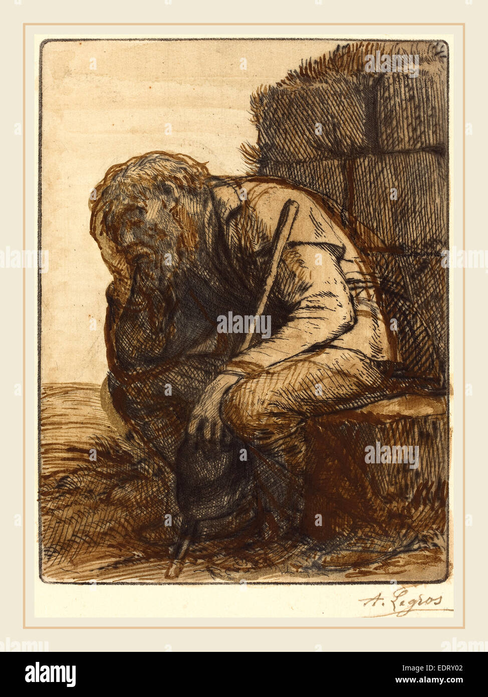 Alphonse Legros, Desperate Man (Le desespere), French, 1837-1911, etching and drypoint retouched with brown and - Stock Image