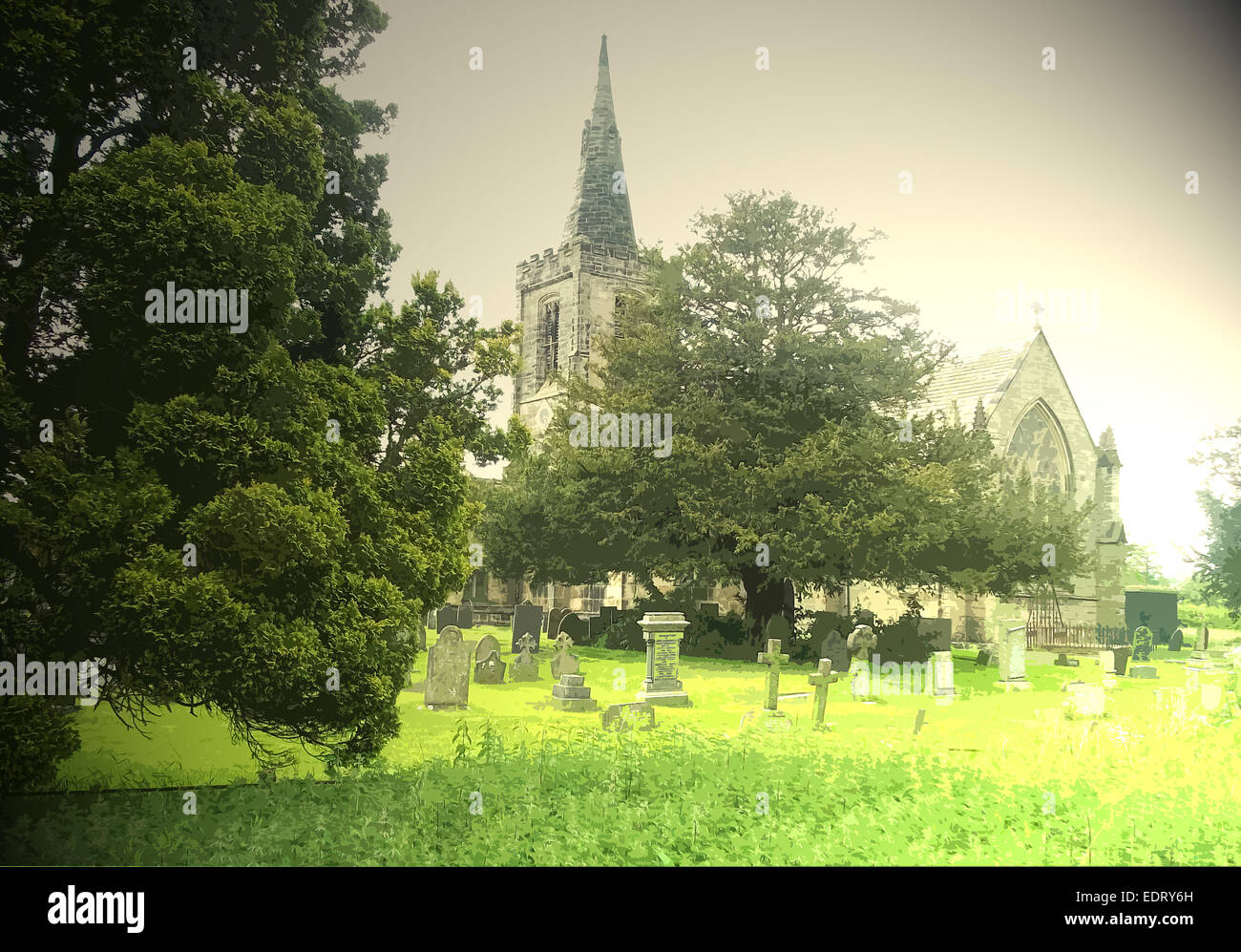 Church of All Saints, Mackworth, This church stands to the east of the medieval village and is pictured here - Stock Image